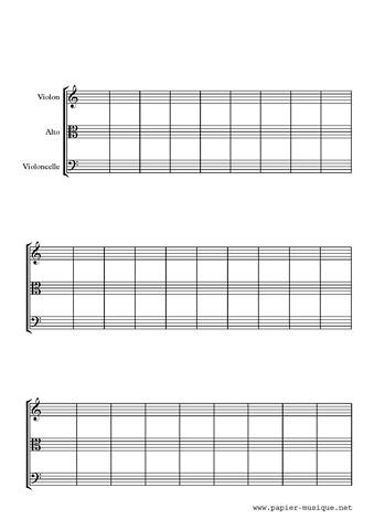 Papier musique pour trio à cordes 30 mesures