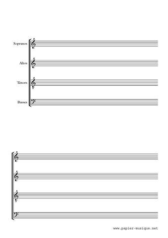Papier musique pour quatuor vocal sans barres de mesures