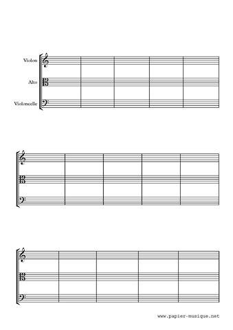 Papier musique pour trio à cordes 15 mesures