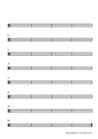 8 Portées musicales, clé d'Ut 3, 32 mesures