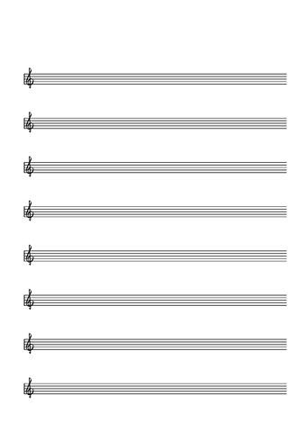 8 Portées musicales, clé de Sol