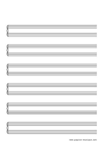 6 portées pour piano sans barre de mesure