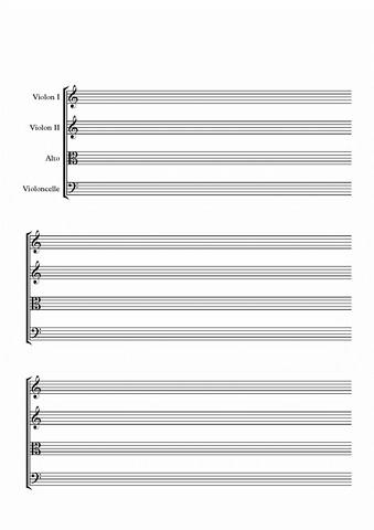 Papier musique pour quatuor à corde sans barre de mesures